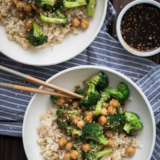 Broccoli Chickpea Bowl with Homemade Teriyaki Sauce.