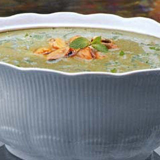 Chilled Cream of Zucchini Soup with Mussels and Fresh Mint