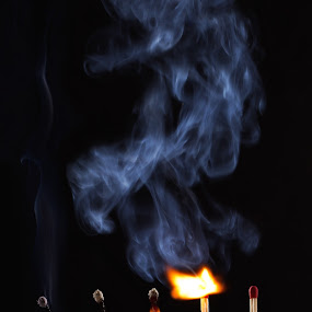 Life of a match by Ingrid Krammer - Abstract Fire & Fireworks ( life, ingridworks, match, table top, black, fire, smoke )