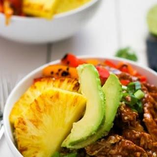 Mango, Black Bean & BBQ Chicken Rice Lettuce Bowls with Chile Lime Vinaigrette