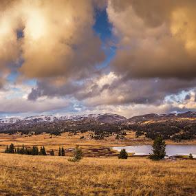 Golden Hour by Veronika Kovacova - Landscapes Sunsets & Sunrises ( clouds, yellowstone, sunset, montana, wyoming, lake, landscape, panorama, roadtrip,  )