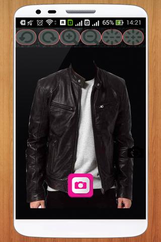 Men Leather Jacket Photo Suit
