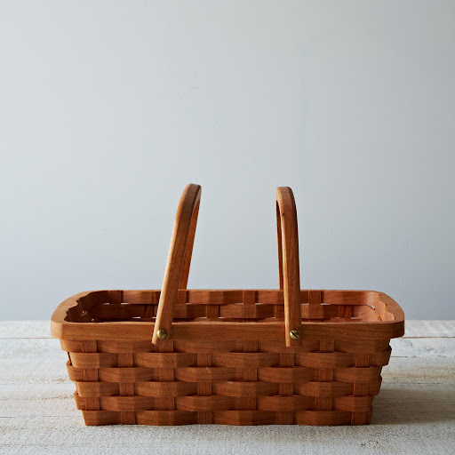 Wood Bread Serving Basket With Handles
