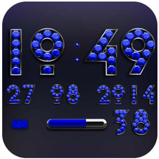 Digi Clock Widget Blue Diamond