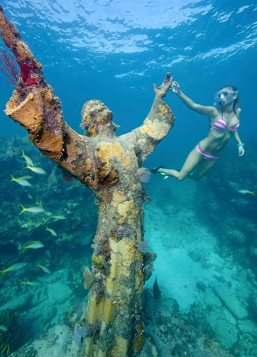 Florida-Keys-Christ-Abyss - The statue Christ of the Abyss off of Key Largo, Florida.