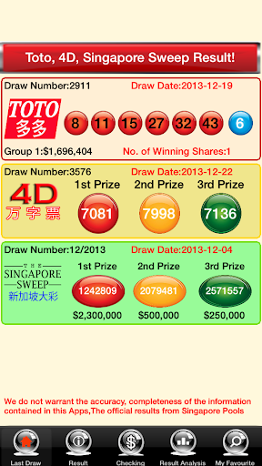 4D TOTO Singapore Sweep Live