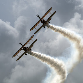 Wingwalkers by Peter Greenhalgh - Transportation Airplanes ( clouds, bi-planes, breitling, wingwalkers, smoke, eastbourne, air show )