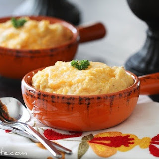 Smoky and Cheesy Buttermilk Baked Mashed Potatoes.