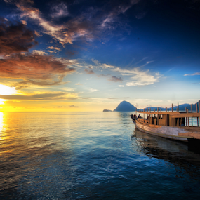 The Boat by Henry Adam - Landscapes Sunsets & Sunrises ( water, device, transportation,  )