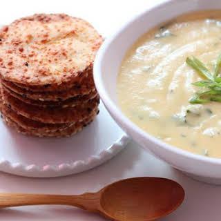 Kale & Potato Soup with Asiago Cheese Thins.