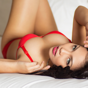 Relax by J D - People Portraits of Women ( bed, red bikini )
