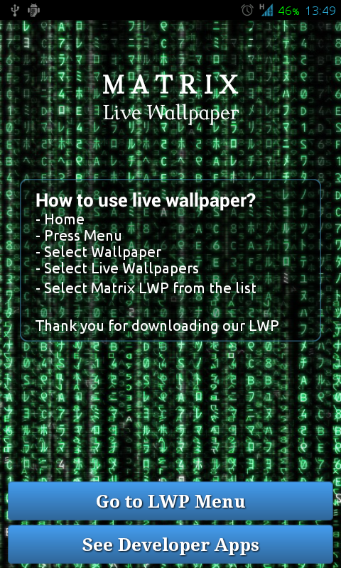 Matrix Live Wallpaper - screenshot