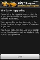Screenshot of aDyno Upgrade