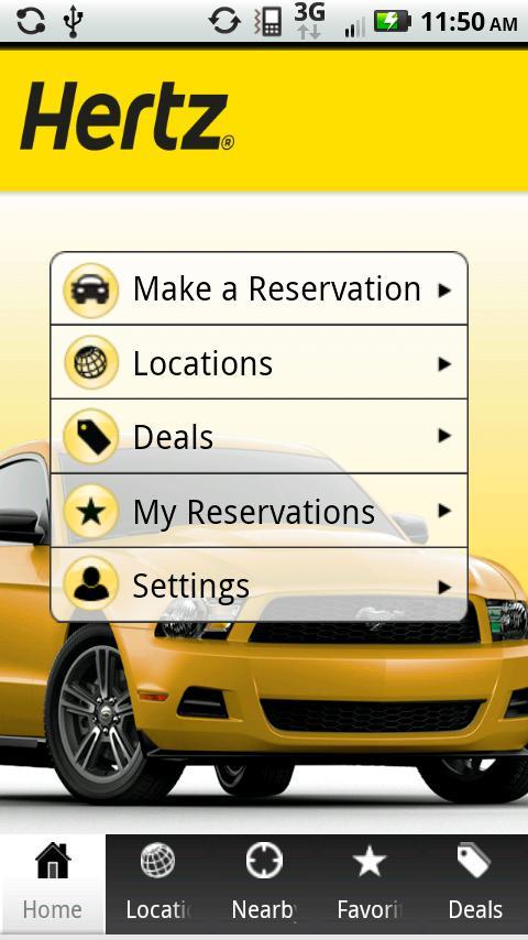 Hertz RentACar- screenshot