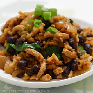 Red Chile Rice with Black Beans and Dried Tofu
