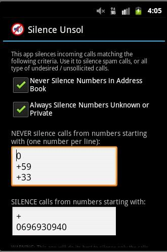 Silence Unsolicited Calls