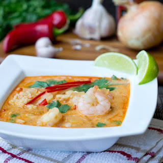 Coconut Curry Soup with Shrimp and Rice.