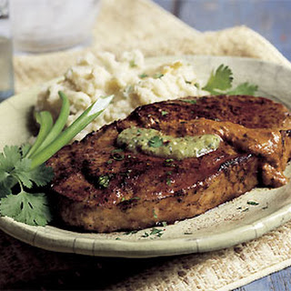 Pan-Fried Steaks with Salsa Verde and Ancho Chili Sauce