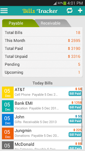 玩免費商業APP|下載Bills Tracker - BillsOnMobile app不用錢|硬是要APP