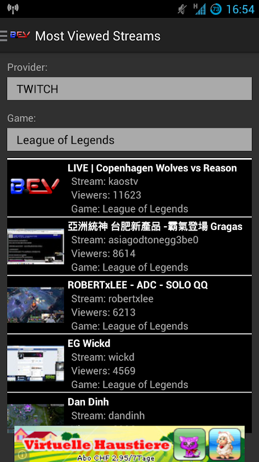 BEV Stream App ( Twitch ) - screenshot