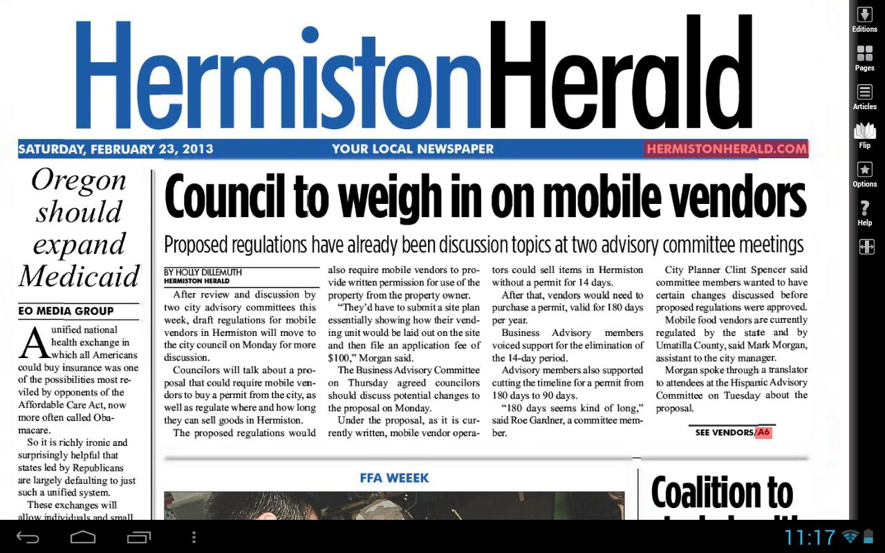Hermiston Herald e-Edition - screenshot