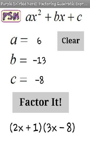 PSN Factor Quadratics