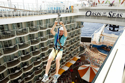 Take a thrilling (but safe) ride on Oasis of the Seas' long and sturdy zipline.