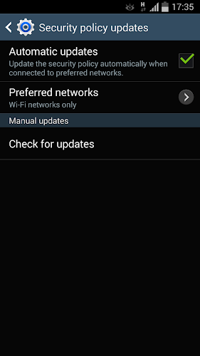 Samsung Security Policy Update Android App Screenshot