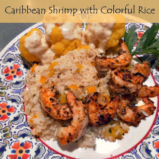 Caribbean Shrimp with Colorful Rice.