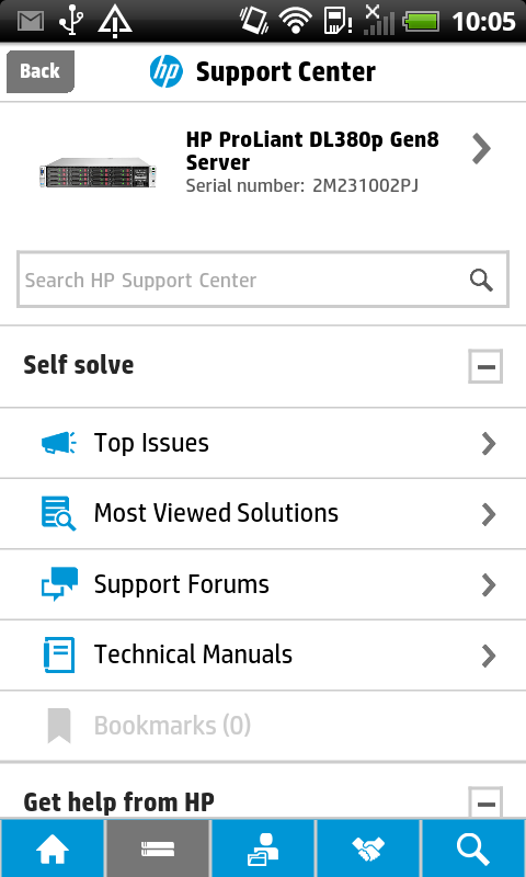 HP Support Center Mobile - screenshot