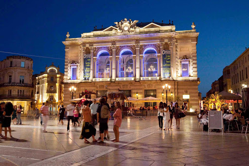 The Place de la Comedie, home of The Opéra national de Montpellier Languedoc-Roussillon opera company in Montpellier, France.