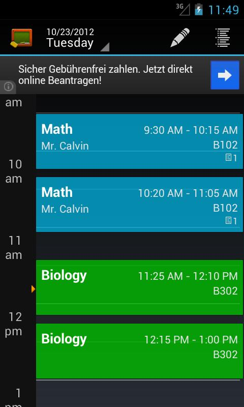 My Class Schedule: Timetable - screenshot