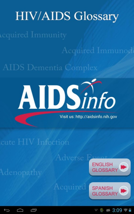 AIDSinfo HIV/AIDS Glossary - screenshot