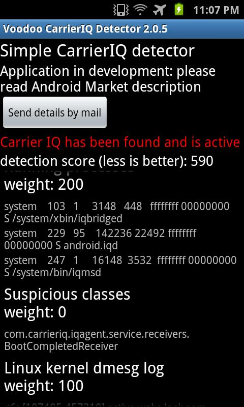 Voodoo Carrier IQ detector - screenshot