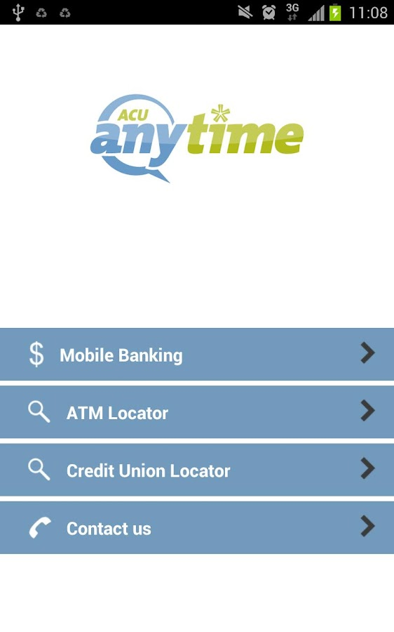 ACU Anytime Mobile Banking App - screenshot