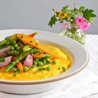 Polenta with Spring Vegetable Ragout.