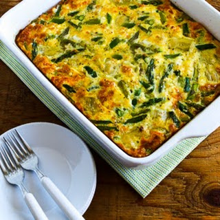 Easter Breakfast Casserole with Asparagus and Artichoke Hearts.