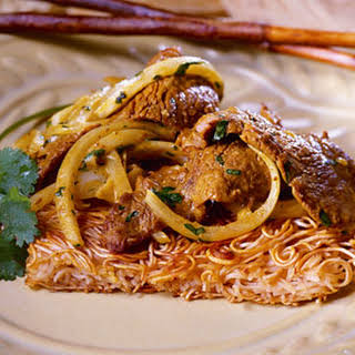 Noodle Cakes with Coconut-Beef Stir-Fry.