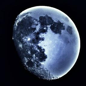 Bluish Moon on Black Sky by Nat Bolfan-Stosic - Landscapes Starscapes ( moon, sky, flaunts, bluish, black,  )