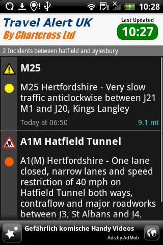 Traffic & Travel Alert UK - screenshot