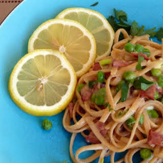 Pasta Carbonara with Peas and Green Onions.