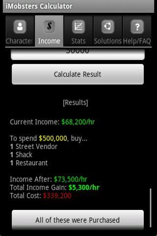 iMobsters Calculator- screenshot
