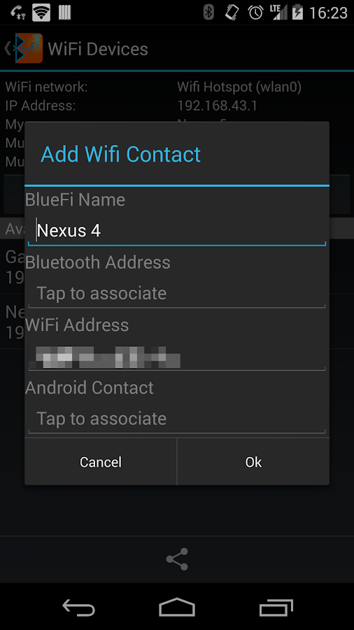 BlueFi Phone - screenshot