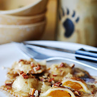 Pumpkin Ravioli With Brown Butter Sauce And Pecans.