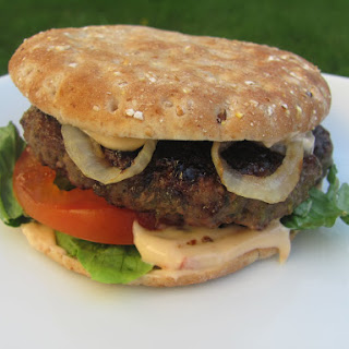 Jamaican Jerk Burger with Chipotle-Orange Mayonnaise.