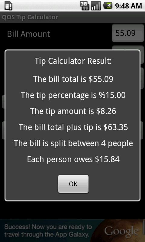 QOS Tip Calculator (Ad Free)- screenshot