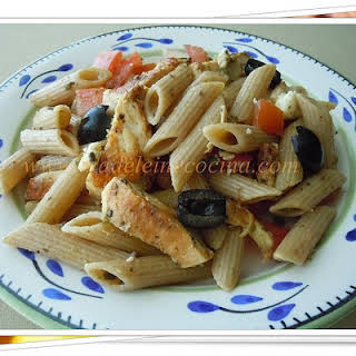 Pasta with Chicken and Olive Paste.