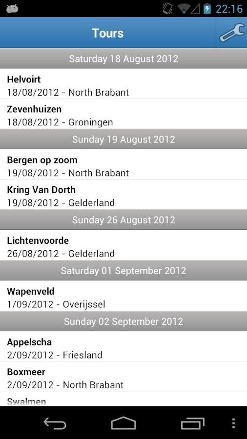 MTB Tours Calendar NL- screenshot