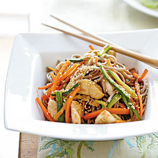 Soba Noodles with Chicken and Vegetables.