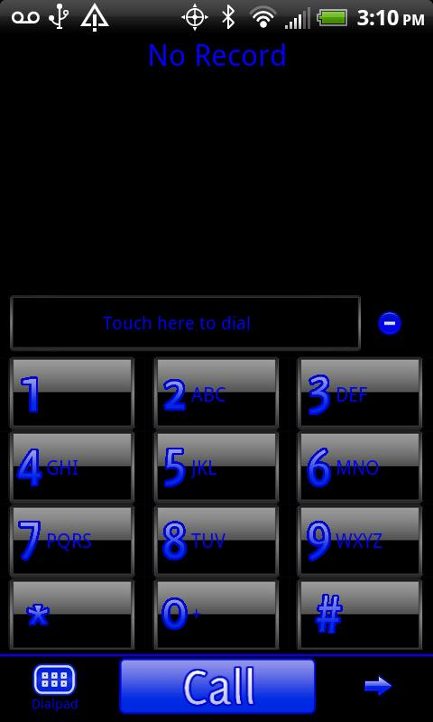 GO Contacts Black & Blue Theme- screenshot